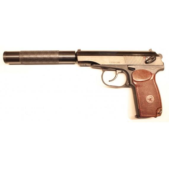 Пневматический пистолет Макарова МР-654К-32-1 с бакелитовой рукоятью и удлинителем ствола