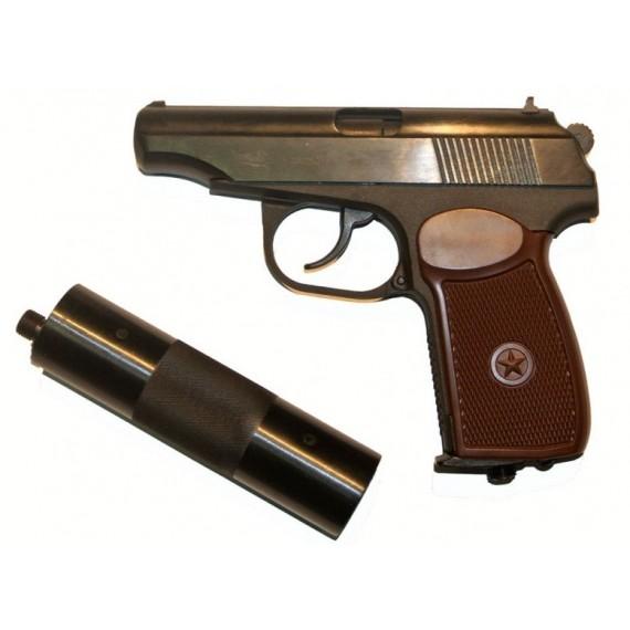 Пистолет пневматический Макаров МР-654К-22 с фальшглушителем
